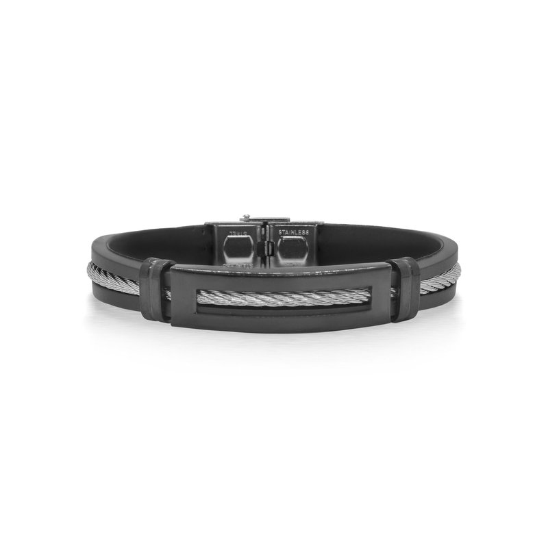 ALOR Catalog Grey Cable Bracelet with Black Rubber