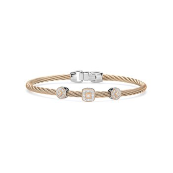 Carnation Cable Essential Stackable Bracelet with Multiple Diamond station set in 18kt Rose Gold