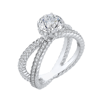 14K White Gold Round Diamond Engagement Ring with Crossover Shank (Semi-Mount)