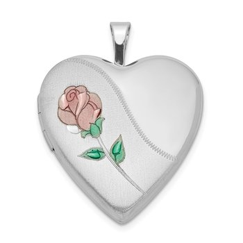 Sterling Silver Rhodium-plated 20mm Satin, Enameled, D/C Floral Heart Lock