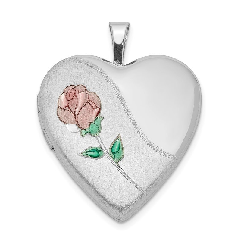 Quality Gold Sterling Silver Rhodium-plated 20mm Satin, Enameled, D/C Floral Heart Lock