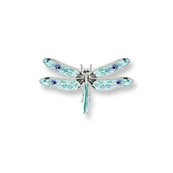 Blue Dragonfly Brooch-Pendant.Sterling Silver-White Sapphires and Blue Sapphires - Plique-a-Jour