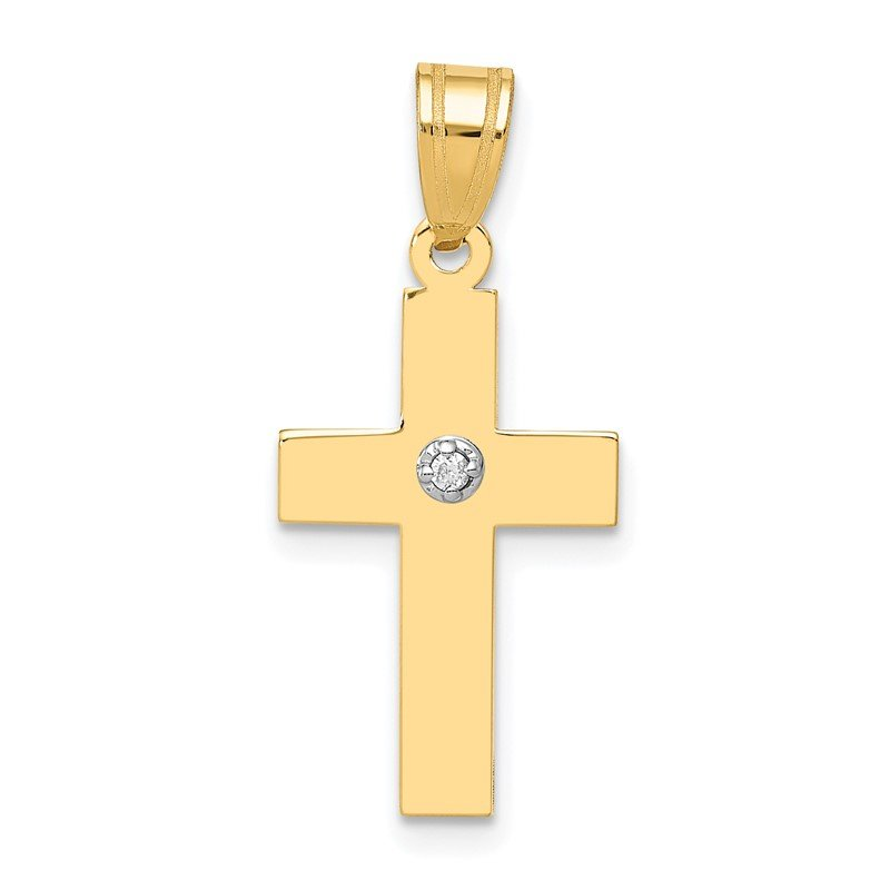 14k Polished .01ct. Diamond Cross Pendant
