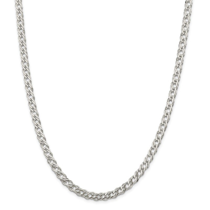 Quality Gold Sterling Silver 5.25mm 6 Side D/C Flat Double Curb Chain
