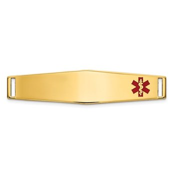 14K Epoxy Enameled Medical ID Off Ctr Soft Diamond Shape Plate # 818