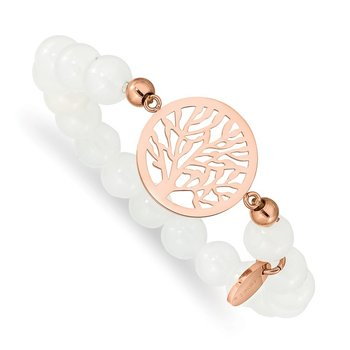 Stainless Steel Polished Rose IP-plated Tree White Jade Stretch Bracelet