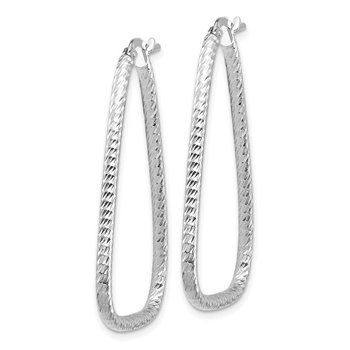 14k White Gold 2mm Diamond-cut Twisted Triangle Hoop Earrings
