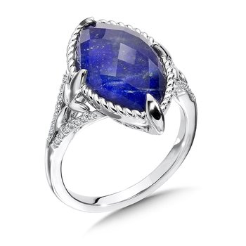 Lapis Fusion and Diamond Ring in 14K White Gold