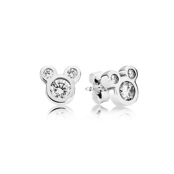 Disney, Dazzling Mickey Stud Earrings, Clear CZ
