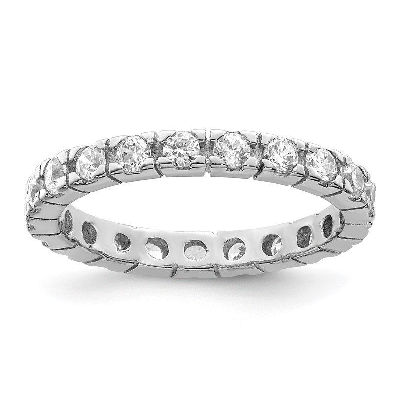 Quality Gold Sterling Silver CZ Polished Eternity Ring