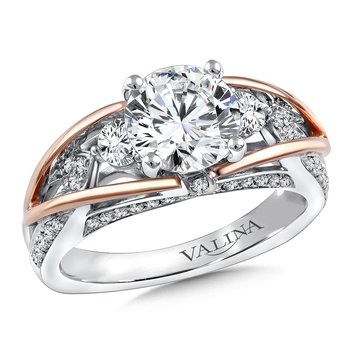 Diamond Engagement Ring Mounting in 14K White/Rose Gold (.53 ct. tw.)