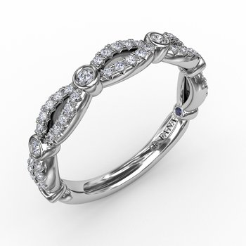 Scalloped Diamond Band with Diamond Bezel Stations