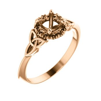 18K Rose 5.2 mm Round Celtic-Inspired Engagement Ring Mounting