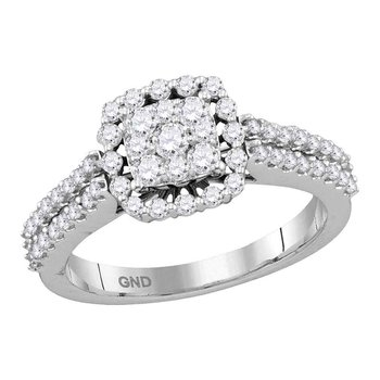 14kt White Gold Womens Round Diamond Square Frame Cluster Ring 3/4 Cttw