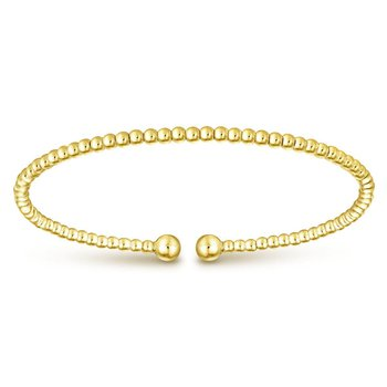 14K Yellow Gold Beaded Open Bangle