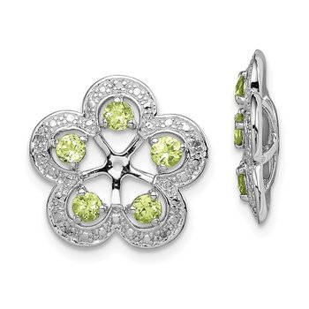 Sterling Silver Rhodium Diam. & Peridot Earring Jacket