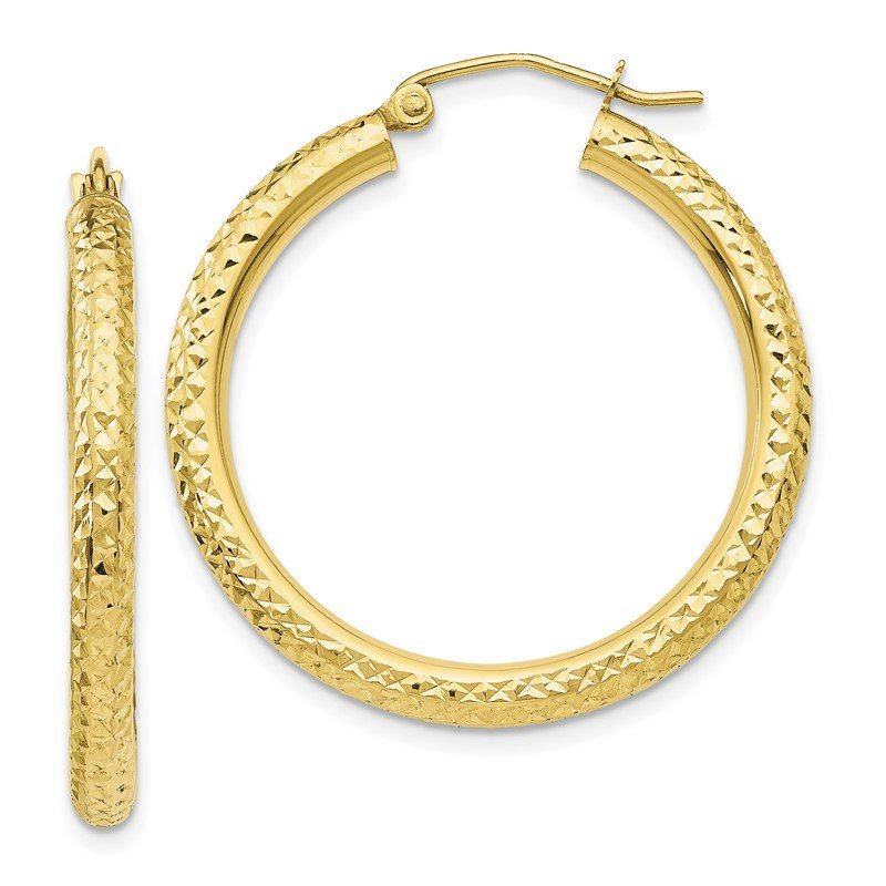 Quality Gold 10k Diamond-cut 3mm Round Hoop Earrings
