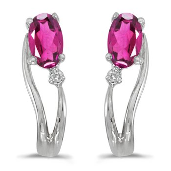 14k White Gold Oval Pink Topaz And Diamond Wave Earrings