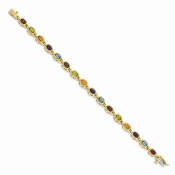 14k Oval Gemstone Rainbow Bracelet