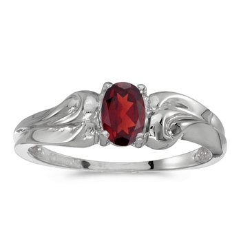 10k White Gold Oval Garnet Ring