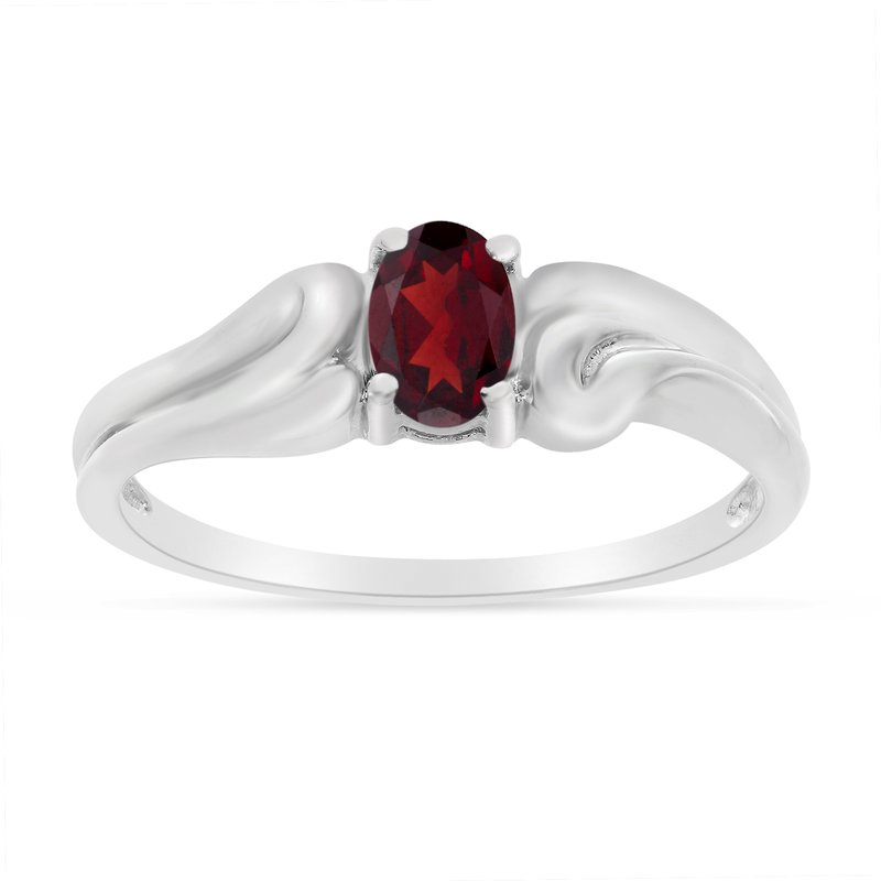 Color Merchants 10k White Gold Oval Garnet Ring