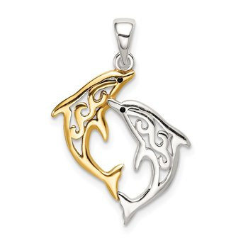 Sterling Silver & Gold-tone Enameled Filigree Dolphins Pendant