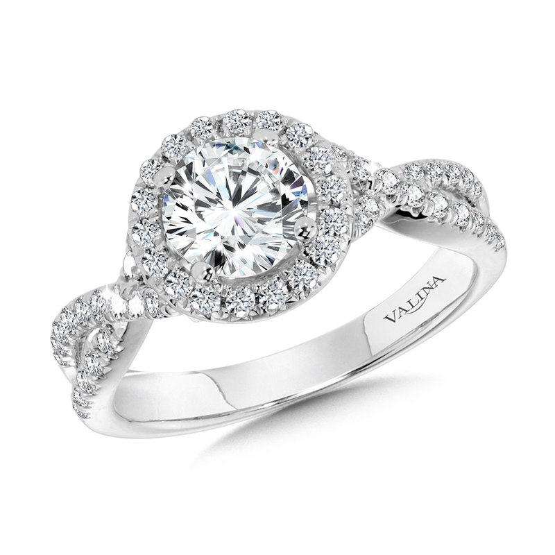 Valina Crisscross Round Halo Engagement Ring