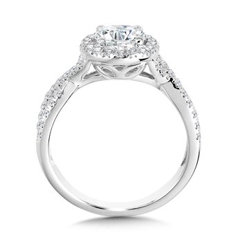 Crisscross Round Halo Engagement Ring