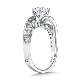 Modernistic Collection Criss Cross Engagement Ring with 6-Prong Center in 14K White Gold with Platinum Head (1ct. tw.)