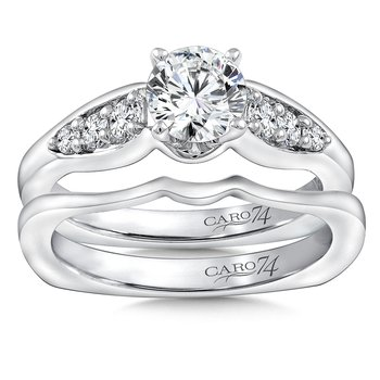 Modernistic Collection Engagement Ring With Diamond Side Stones in 14K White Gold with Platinum Head (3/4ct. tw.)