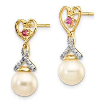 14k 7-8mm FWC Pearl Created Ruby Diamond Heart Dangle Earrings