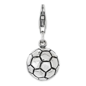 Sterling Silver Polished and Antiqued Soccer Ball w/ Lobster Clasp Charm