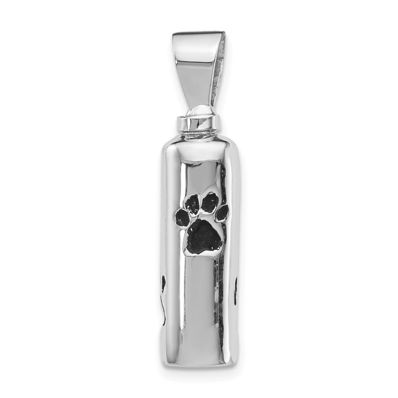 Quality Gold Sterling Silver Rhodium-plated Enameled Paw Prints Ash Holder Pendant