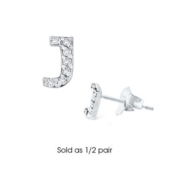 "Diamond Single Initial ""J"" Stud Earring (1/2 pair)"
