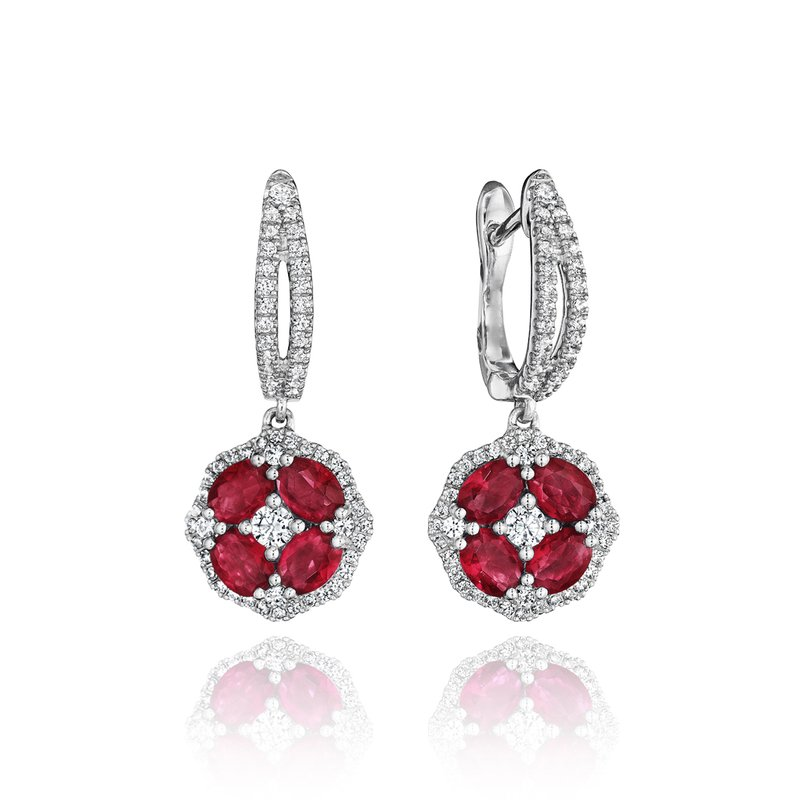 Fana Steal The Spotlight Ruby and Diamond Cluster Drop Earrings
