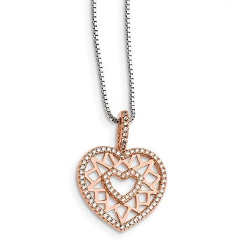 Sterling Silver Rose-tone CZ Brilliant Embers Heart Necklace
