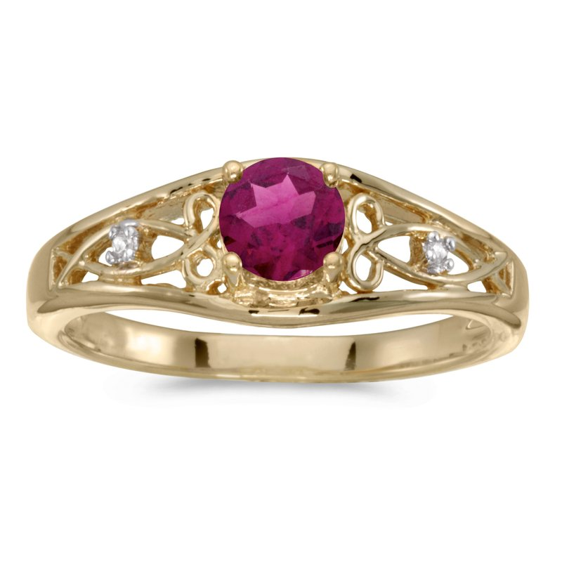 Color Merchants 14k Yellow Gold Round Rhodolite Garnet And Diamond Ring