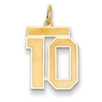 14k Medium Satin Number 10 Charm