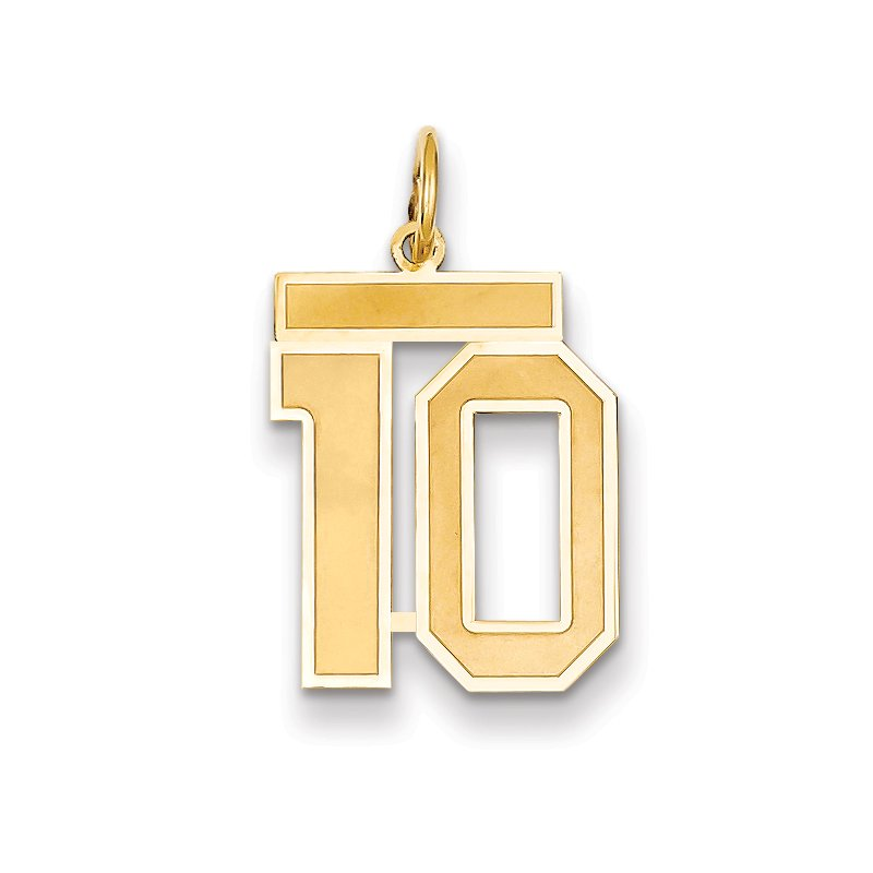 Quality Gold 14k Medium Satin Number 10 Charm