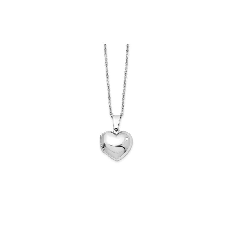 Quality Gold SS White Ice Diamond Heart Locket Necklace