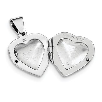 SS White Ice Diamond Heart Locket Necklace