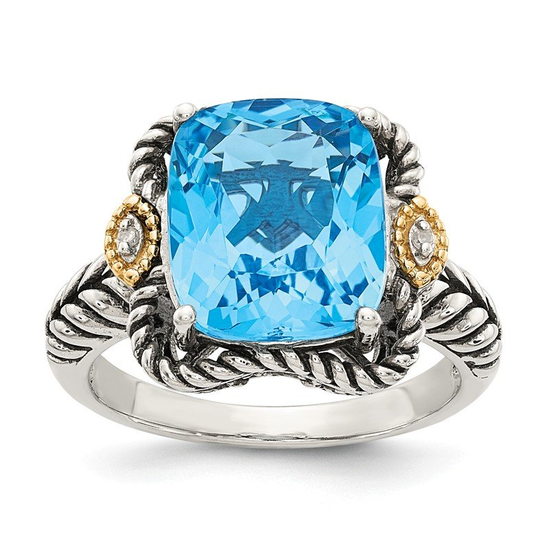 Shey Couture Sterling Silver w/14k Antiqued Lt Swiss Blue Topaz and Diamond Ring