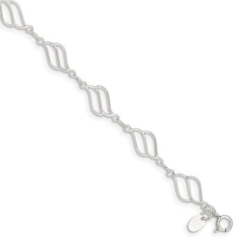 Sterling Silver 10inch Fancy Polished Anklet