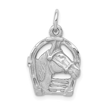 14k White Gold Diamond-cut Horse Head in Horseshoe Charm