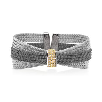 Grey & Steel Grey Cable Bow Cuff with Diamonds set in 18kt Yellow Gold