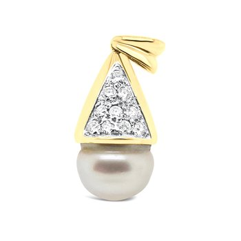 18K Yellow Gold Diamond White South Sea Pearl Pendant