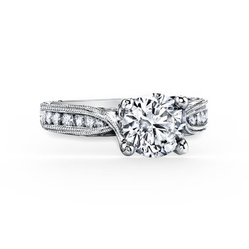 Engraved Classic Diamond Engagement Ring
