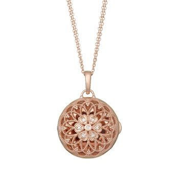 Elaine Locket Necklace Rose Gold