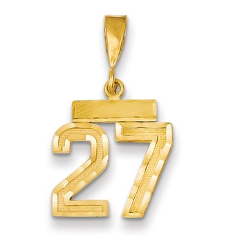 14k Small Diamond-cut Number 27 Charm