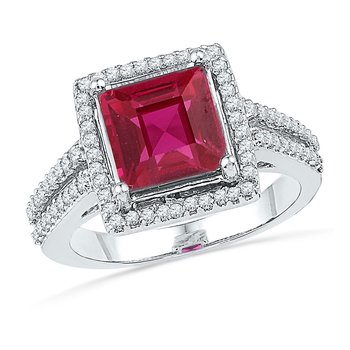 10kt White Gold Womens Cushion Lab-Created Ruby Solitaire Diamond Ring 1/3 Cttw